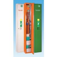 Schranksystem für besonders hohe Hygiene- und Sicherheitsanforderungen im Erste-Hilfe-Bereich. Stehschrank mit Trage (klappbar)