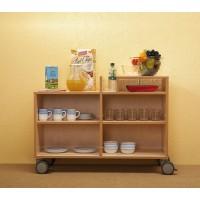 Kompakte Frühstückstheke  mit einer Mittelwand und je Seite 2 Fächer