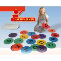 26 Buchstabenmatten Ø ca. 22,5 cm, wahlweise in transparenter Box