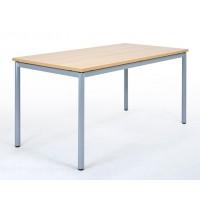 Rechtecktisch mit Metallgestell, die Zarge unter der Tischplatte verleiht dem Tisch besondere Stabilität, stapelbar