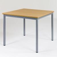 Quadrattisch mit Metallgestell, die Zarge unter der Tischplatte verleiht dem Tisch besondere Stabilität