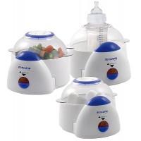 Der Sterilisator und Dampfgarer ermöglicht 3 unterschiedliche Funktionen: wärmt eine bis sechs Flaschenfüllungen gleichzeitig auf, sterilisiert sechs Babyflaschen mit ihren Nuckeln und Zubehör und ermöglicht das Dampfgaren der Nahrungsmittel.