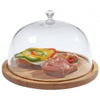 zweiteilige Käseglocke aus Buchenholz / Glas