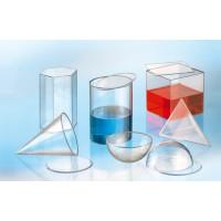 Set bestehend aus sechs Füllkörpern aus Acrylglas. Längste Seite jeweils ca. 15 cm