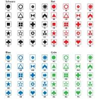 Symbolbogen selbstklebend, mit 600 Symbolen in den Farben schwarz, rot, blau oder grün