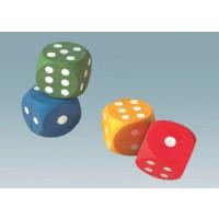 Set = 4 Würfel - Hochwertige Augenspielwürfel aus Moosgummi, 4 cm