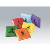 Set (6Stück) abwaschbare Bohnensäckchen mit Zahlen und Punkten, 13 x 13 cm, ca. 160 g