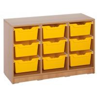 Ergo Tray Klassenraumregal mit 9 Schüben, Schübe wahlweise in 5 Farben