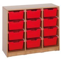 Ergo Tray Klassenraumregal mit 12 Schüben, Schübe wahlweise in 5 Farben