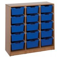 Ergo Tray Klassenraumregal mit 15 Schüben, Schübe wahlweise in 5 Farben