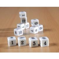12 Zahlenwürfel mit Zahlen von 1 bis 12,  im Set