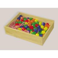 Fädelspiel mit 130 bunten Holzperlen