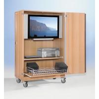 Für TV-Geräte bis 90 cmBreite!, Abbildung zeigt Modell FTV 200R VK, mit einem Boden und Mit Rollauszug für Abspielgeräte und Videoauszug für 40 Videokassetten oder ca. 80 DVD's
