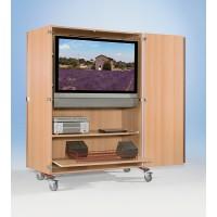 Extra breiter TV-Wagen für Flachbildfernseher bis 112 cm Breite, Abbildung zeigt Modell FTV 220 RGV1B, Dekor Buche
