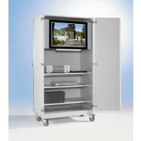 Für TV-Geräte bis 90 cmBreite! Abbildung zeigt TV-Wagen FTV9RV2B, Dekor Grau, Gestell RAL 7035 lichtgrau