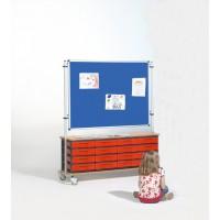 Tafel Stoff blau, Schübe rot