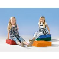 Sitzkissen, mit Schaumstoffkern und farbenfrohen Bezügen
