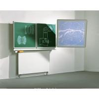 Die wandmontierten Klappschiebetafeln lassen sich in der Höhe von 160 bis 215 cm (Tafeloberkante) verstellen und somit spielend leicht der Benutzergröße anpassen.