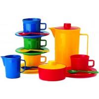 buntes Kaffeeservice aus Kunststoff