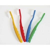 farbenfrohe Zahnbürsten (gelb, rot, blau und grün)