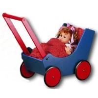 Puppen- / Lauflernwagen blau/rot lackiert, mit Garnitur (Lieferung erfolgt ohne Puppe)