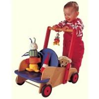 Puppen- / Lauflernwagen Buche natur, blau und rot lackiert