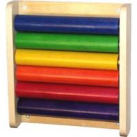 Krippenwandspiel Walzenbrett, 6 farbintensive Walzen
