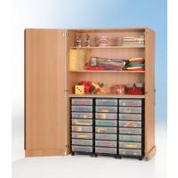 """Abschließbarer InBox Garagenschrank, Dekor Buche, 24 x InBox """"M"""" , 3 fahrbare Container mit jeweils 8 x InBox """"M"""""""