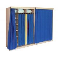 Schrank mit Vorhang (uni blau 04)  für 9 Liegepolster, mit 9 Fächer für Bettzeug (2 Schränke nebeneinander)