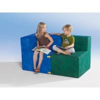 Abbildung zeigt: Sessel (Stoff U GG, grün) und Sessel-Ecke ( Stoff U BB,blau)