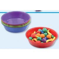 Je 1 x Materialschale blau, rot, gelb, lila, grün und orange.