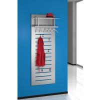 Wandpaneel aus Stahl in Alusilber beschichtet, Hutablage aus Sicherheits-Klar-Glas,  Garderobenstange mit 5 Kleiderbügel, inklusive 6 Haken