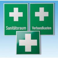 Rettungszeichen - Stabile Aluminiumschilder nach BGV A8, grün, Beschriftung und Symbole weiß.