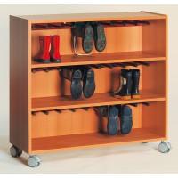 Fahrbarer Stiefelwagen für 15 Paar Schuhe, Dekor Buche