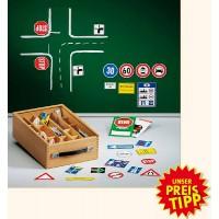 Verkehrszeichen-Satz für die Tafel, wahlweise im  Holzkoffer oder in der praktischen Folientasche
