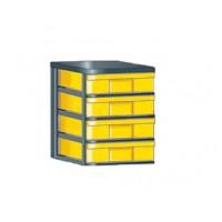 """InBox-Container mit flachen Schüben in """"M"""" Abbildung: InBox-Container feststehend, mit  4 flachen Schüben, Boxen in gelb"""