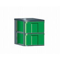"""InBox-Container mit hohen Schüben in """"L""""  Abbildung: InBox-Container feststehend,  mit 2 hohen Schüben, Boxen in grün"""