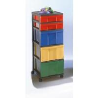 InBox-Container mit 88 cm Höhe, mit farbig sortierten Schüben Maße B/H/T: 32 x 88 x 41 cm