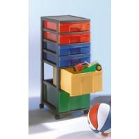 InBox-Container mit 88 cm Höhe, mit farbig sortierten Schüben, 4 flache und 2 hohe in 4 Farben