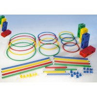 Hindernis-Set Standard (Set 3) bestehend aus Reifen, Stäben, Standfüßen und Gelenkklemmen