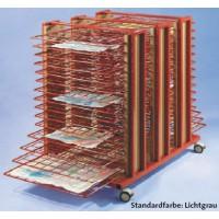 Fahrbarer Trckenwagen mit 30 Ablagen für kleine Kunstwerke bis Papierformat DIN A 2