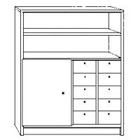 Regal mit Regalaufsatzteil, ohne Türen, im Unterschrank ein abschließbares Fach links, mit 2 verstellbaren Böden links und 10 Holzkästen HK 5 rechts