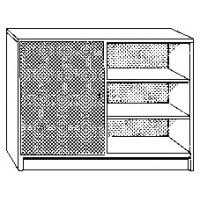 Schrank mit einem offenen Fach links und einem Fach mit Drehtüre (abschließbar) rechts, mit je 2 höhenverstellbaren Böden