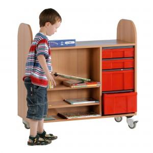 Bücher-Rollwagen, fahrbar mit 4 Schüben (100 x 100 x 45 cm)