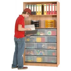 InBox Hochschrank als offenes Regal mit 15 hohen Schüben (transparent)