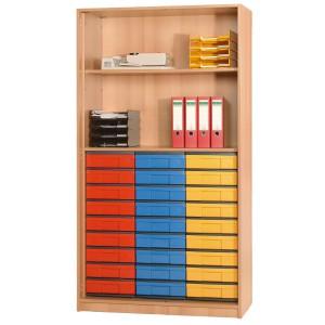 InBox Hochschrank als offenes Regal mit 27 flachen Schüben (blau, gelb, rot)