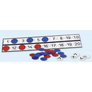 Schüler-Rechenleisten für Wendeplättchen Ø 2,5 cm, nicht magnetisch