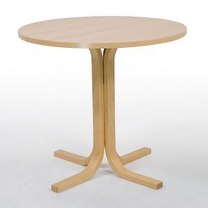 Einsäulentische mit Gestell aus Holz, verschiedene Tischplattenformen