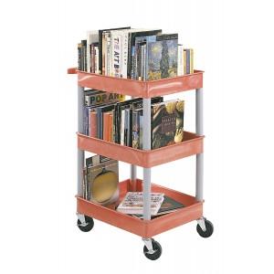 Clever-Cart-Bücherwagen (3 Wannen, 980 mm hoch, Rot)