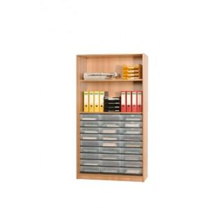 InBox Hochschrank als offenes Regal mit 27 flachen Schüben (transparent)